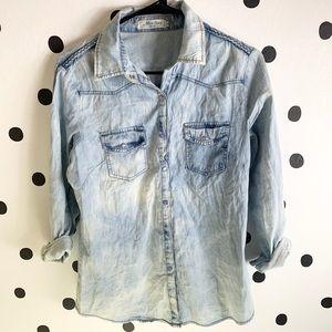 Tops - 🌈5/$25🌈EUC miss sexy jean button down shirt L